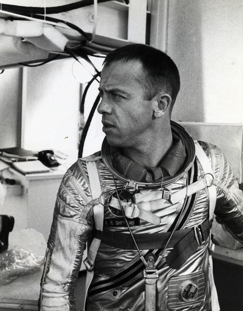 Photographs of Alan Shepard Being Suited up in His Space Gear for a Test Simulation Flight