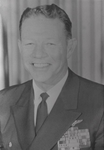 CAPT. Leo B. McCuddin, USN (covered) CO, USS RANGER (CV-61), 1965-1966
