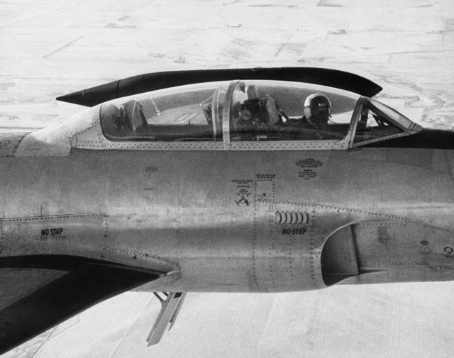 """U.S. Air Force LT. COL. Duane""""Pappy""""Larson, assigned to the 119th Fighter Wing""""Happy Hooligans"""", North Dakota Air National Guard, pilots a F-89D/J Scorpion aircraft during a flight over Fargo, North Dakota. (A3604) (U.S. Air Force PHOTO) (Released)"""