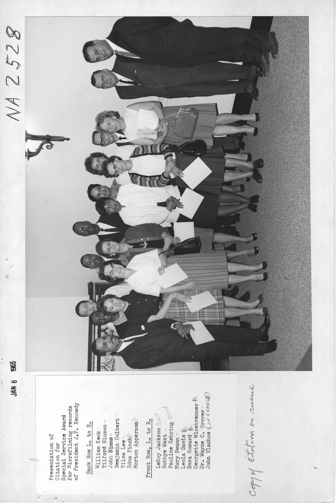 Photograph of Presentation of Citation for Special Service Award for Microfilming Records of President John F. Kennedy