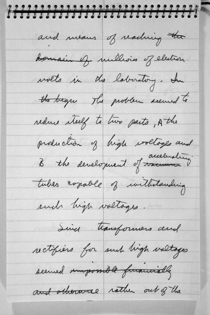 Ernest Orlando Lawrence's notes on cyclotron theory. Morgue 1958-8 (P-80) [Photographer: Donald Cooksey]