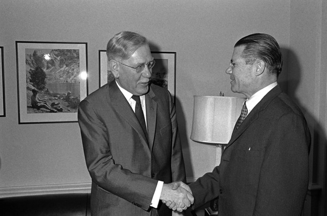 Secretary of Defense Robert S. McNamara greets Dr. Heinrich Krone, chairman, Federal Defense Council, Federal Republic of Germany, upon his arrival at the Pentagon for a meeting