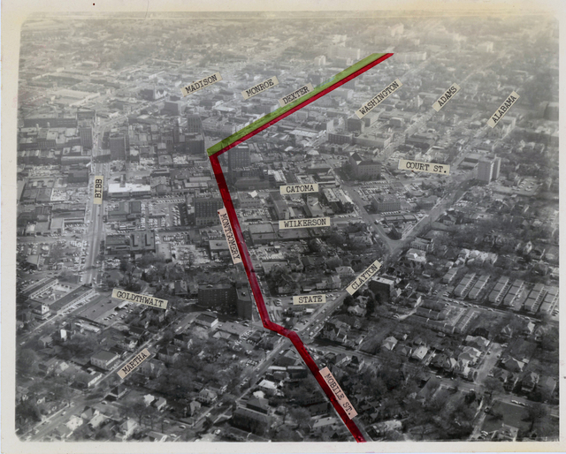 Aerial Photograph of the Proposed March Route from the City of St. Jude's Grounds to the Alabama State Capitol Building