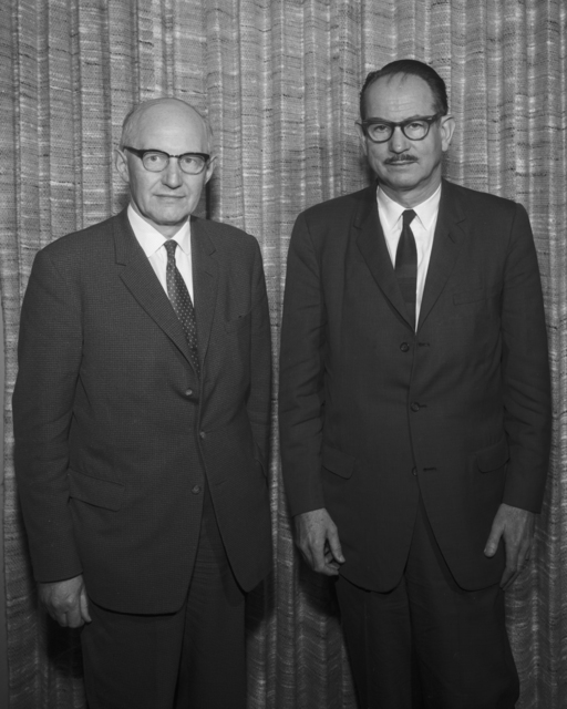 Dr. Ernest Walton, Irish physicist and Nobel Laureate with Edwin McMillan, right. Photo taken April 15,1965. Morgue 1965-5 (P-6) [Photographer: Donald Cooksey]