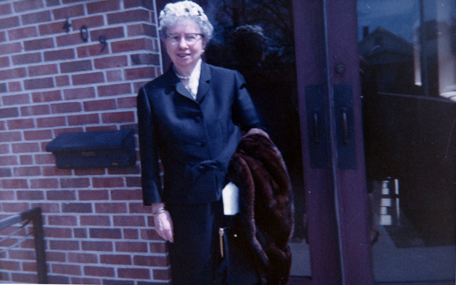 Photograph of Bess Truman Outside Her Church on Easter Sunday