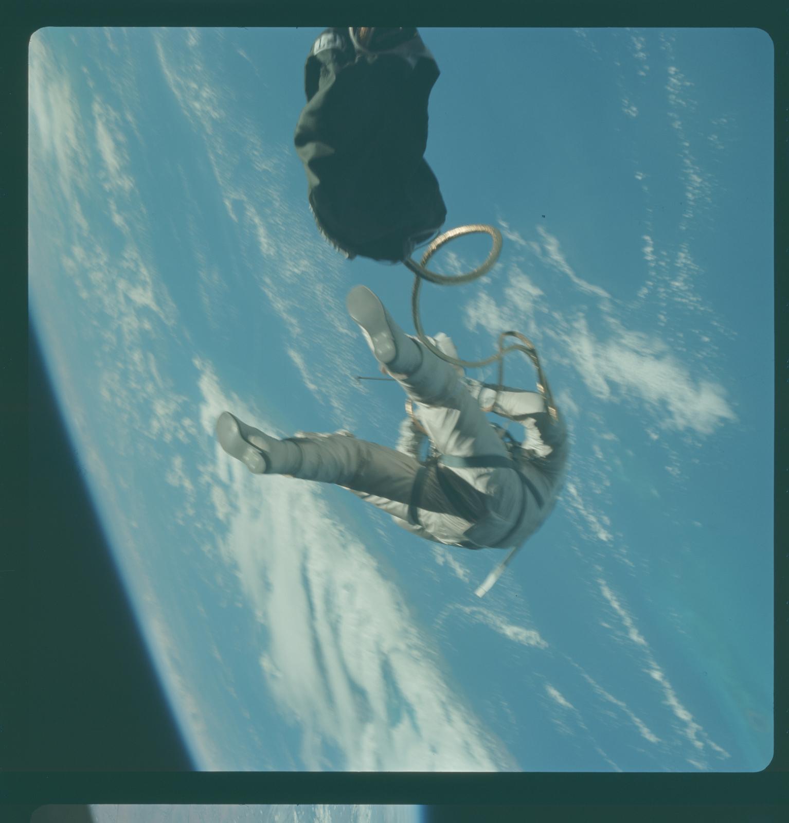 Gemini IV Mission Image - EVA over Gulf of Mexico