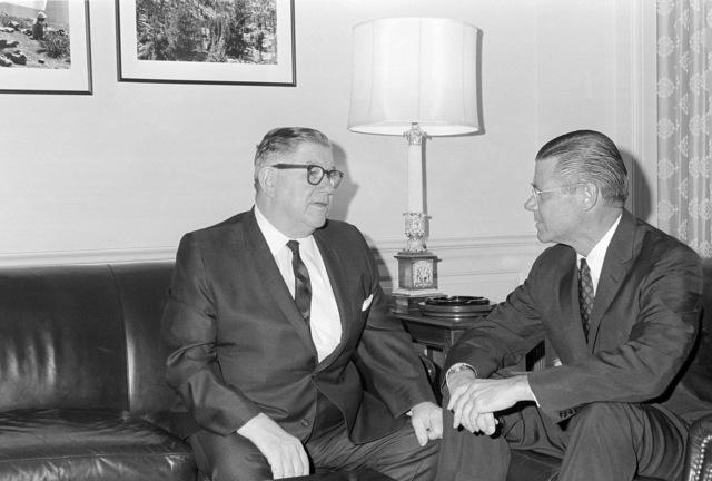Congressman Edward J. Patten (D-New Jersey) (left) meets with Secretary of Defense Robert S. McNamara in his Pentagon