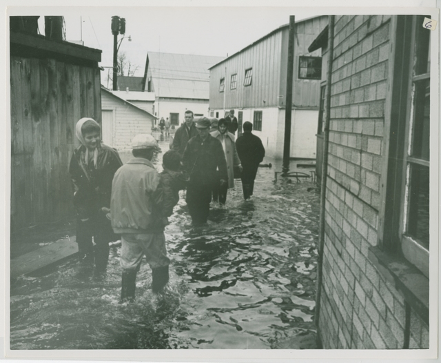 10/64. Seldovia Floods - The 3.5 foot land subsidence at Seldovia made floods inevitable on the boardwalk during high tides. Residents are shown wading about their business on the boardwalk