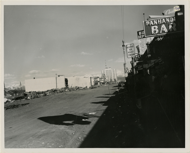 4/64. Anchorage - 4th Avenue debris during cleanup. See photos 882, 301A, 297, 621 (looking east)