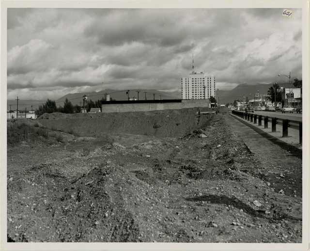 7/64. Anchorage - 4th Avenue slide area clearance. McKinley building in background. East from C. Street. See photos 882, 527, 301A, 297