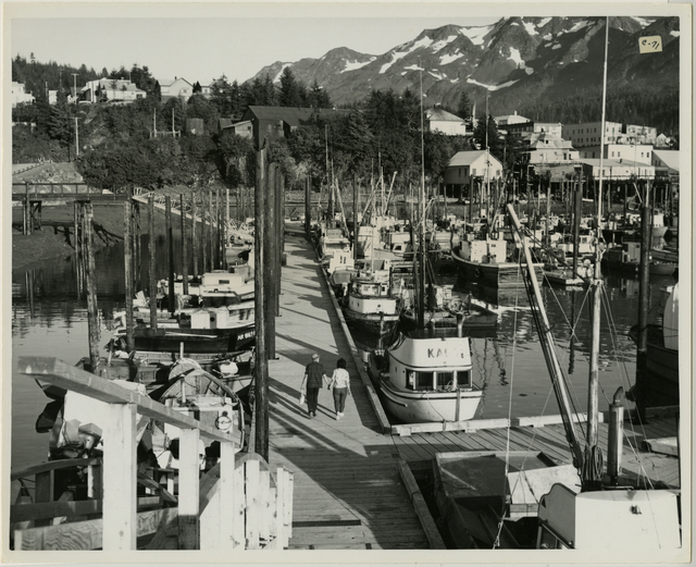 8/65. Cordova - Shows new approach and floating platforms in small boat harbor