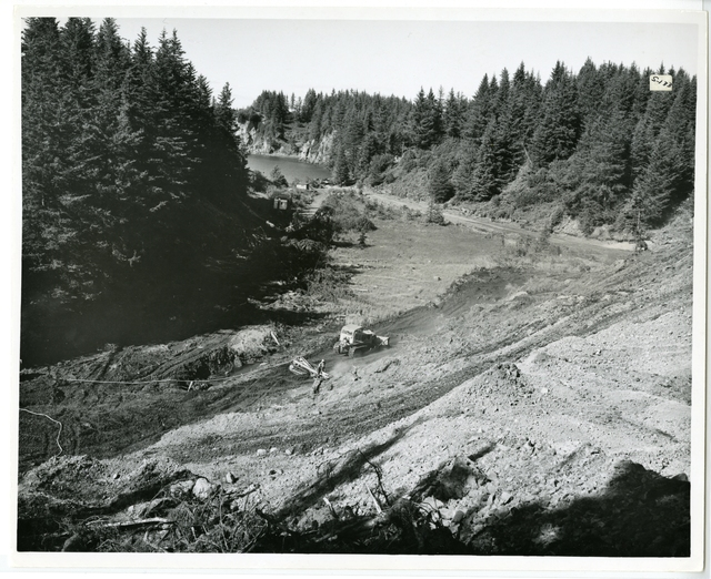 8/65. Seldovia - Show made from top of hill - back of cemetery which will be moved and used for fill. Main Street will enter town here. Shows route of outfall sewer
