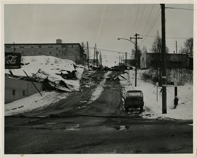 Anchorage's C Street - Typical bluff damage from the Anchorage quake in shown in this picture of a stretch of one of the main streets in Anchorage