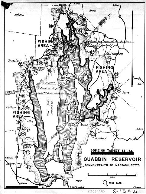Bombing Target Sites on the Quabbin Reservoir in Massachusetts