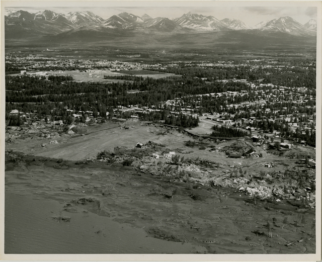 Contract 64-68- Turnagain debris removal and area grading. Contract is held by Walsh and Company. This photo was taken looking southeast in the vicinity of Lynnary park