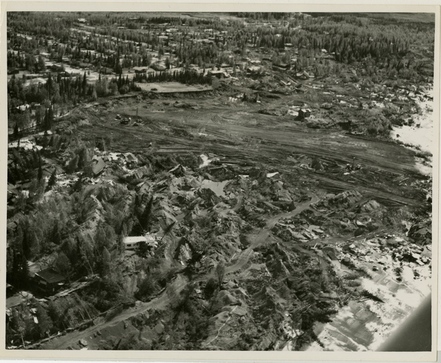 Contract 64-68 Turnagain debris removal and area grading, contractor Walsh and Company, 11 June 1964, photo by Tice, looking southwest vicinity of Lynnary Park