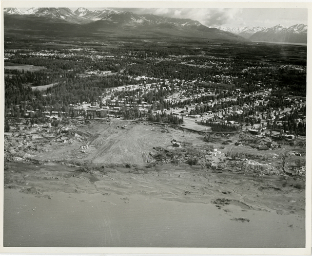 Contract 64-68 Turnagain debris removal and area grading, contractor - Walsh and Company, 11 June 1964, Photo by Tice, looking southeast vicinity of Lynnary Park