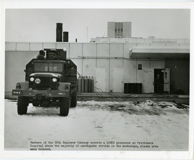 Members of the 56th Engineer Company operate a 100KW generator at Province Hospital where the majority of the earthquake victims in the Anchorage, Alaska area were treated. [There are no photograph numbers accompanying the photos. They are captioned in order that they appear in folder. All dates are contained within the captions. Many of the photos are from the Alaska District restoration work following the 27 March 1964 earthquake.]