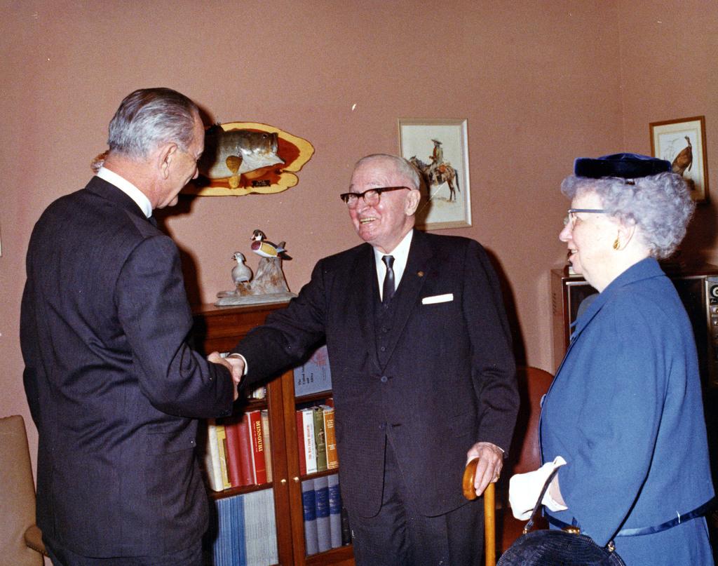 Photograph of President Lyndon B. Johnson with the Trumans