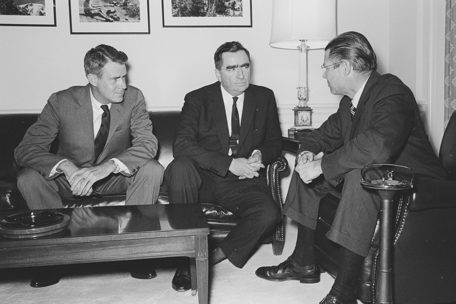 Secretary of Defense Robert S. McNamara, right, and Deputy Secretary of Defense Cyrus Vance, left, meet at the Pentagon with Denis Healey, secretary of state for defense, Great Britain