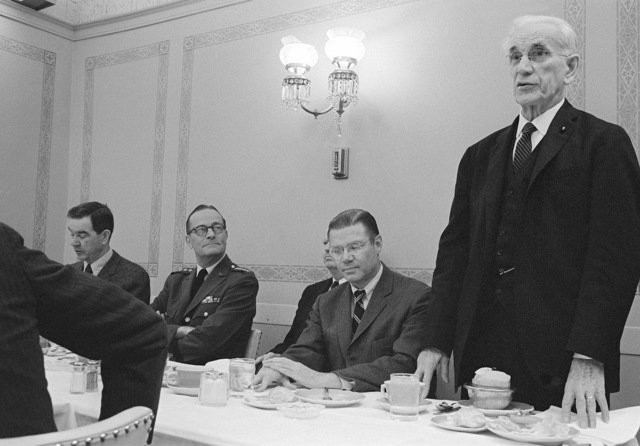 Speaker of the House John W. McCormack (D-Massachusettes) (standing), addresses those attending a luncheon at the US Capitol honoring top Department of Defense executives. Left to right are Congressman George H. Mahon (D-Texas), committee chairman of the US House of Representatives Appropriations Committee; General (GEN) Earle G. Wheeler, Chairman, US Army Joint Chiefs of STAFF; Secretary of Defense Robert S. McNamara and Congressman McCormack