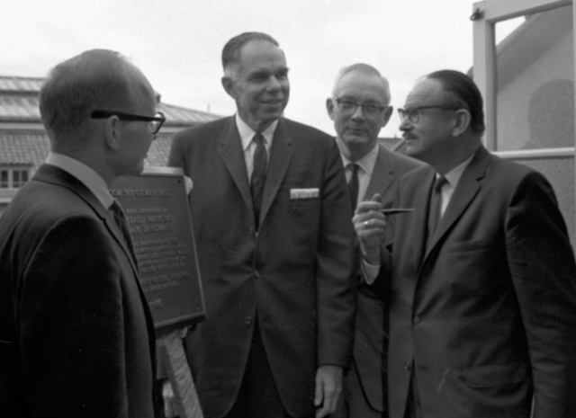 25th anniversary of the discovery of plutonium. Group, including Glenn Seaborg and Edwin McMillan, with a plaque designating Room 307 of Gilman Hall a National Historic Landmark, taken February 21, 1966. Morgue 1966-12 (P-21) [Photographer: Donald Cooksey]