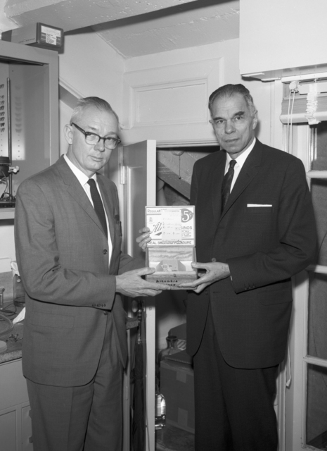 25th anniversary of the discovery of plutonium with Glenn Seaborg (right), taken February 21, 1966. Morgue 1966-12 (P-10) [Photographer: Donald Cooksey]