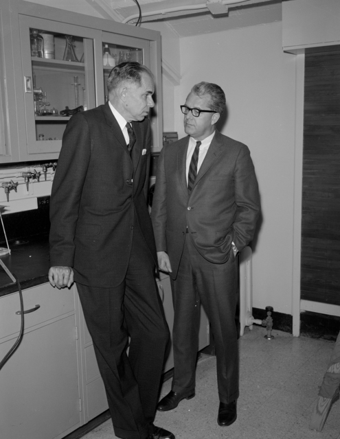 25th Anniversary. of the Discovery of plutonium with Glenn T. Seaborg, left. Photo taken February 21, 1966. Morgue 1966-12 (P-2) [Photographer: Donald Cooksey]