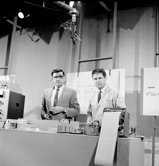 "KRON TV's rehearsal for February 26, ""Science in Action"" show with Al Ghiorso and Earl Herald, taken 2/26/1962. Morgue 1962-80 (P-3) [Photographer: Donald Cooksey]"