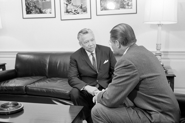 Secretary of Defense Robert S. McNamara, right, meets at the Pentagon with Jesus Vargas, secretary general of the Southeast Asia Treaty Organization (SEATO)