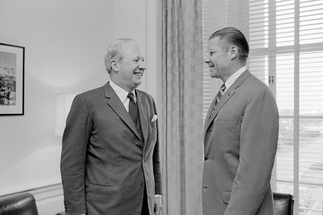 Secretary of Defense Robert S. McNamara, right, meets at the Pentagon with Edward Heath, leader of the opposition party in the House of Commons, Great Britain