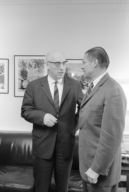Fritz Erler (left), a member of the Social Democratic Party Chairman of the Fraktion Executive Committee, the Bundestag, Federal Republic of Germany, meets with Secretary of Defense Robert S. McNamara at the Pentagon