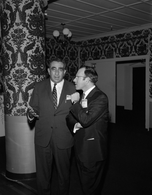 Lawrence Radiation Laboratory hosts the High Energy Physics Meeting. Edward Teller of Lawrence Livermore Laboratory and theoretician Yuval Ne'eman of Tel Aviv. Photo taken September 1966. Morgue 1966-155 [Photographer: Donald Cooksey]