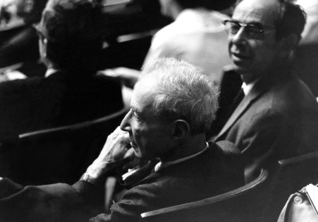 Lawrence Radiation Laboratory hosts the High Energy Physics Meeting. Robert, left and Frank Oppenheimer. Photo taken September 1966. Morgue 1966-159 [Photographer: Donald Cooksey]