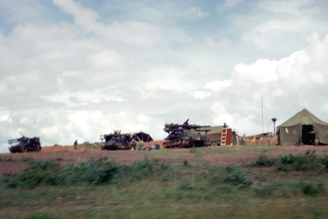 "Three US Marine Corps M50 ""Ontos"" tracked vehicles. Each Ontos carries six 106 mm recoiless rifles"