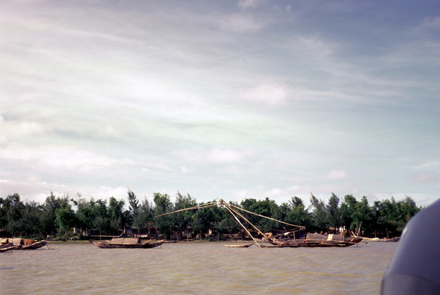 Vietnamese boats on the Cua Viet River