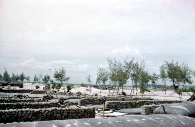 A view of 10,000-gallon fuel bladders at the Cua Viet bulk fuel area