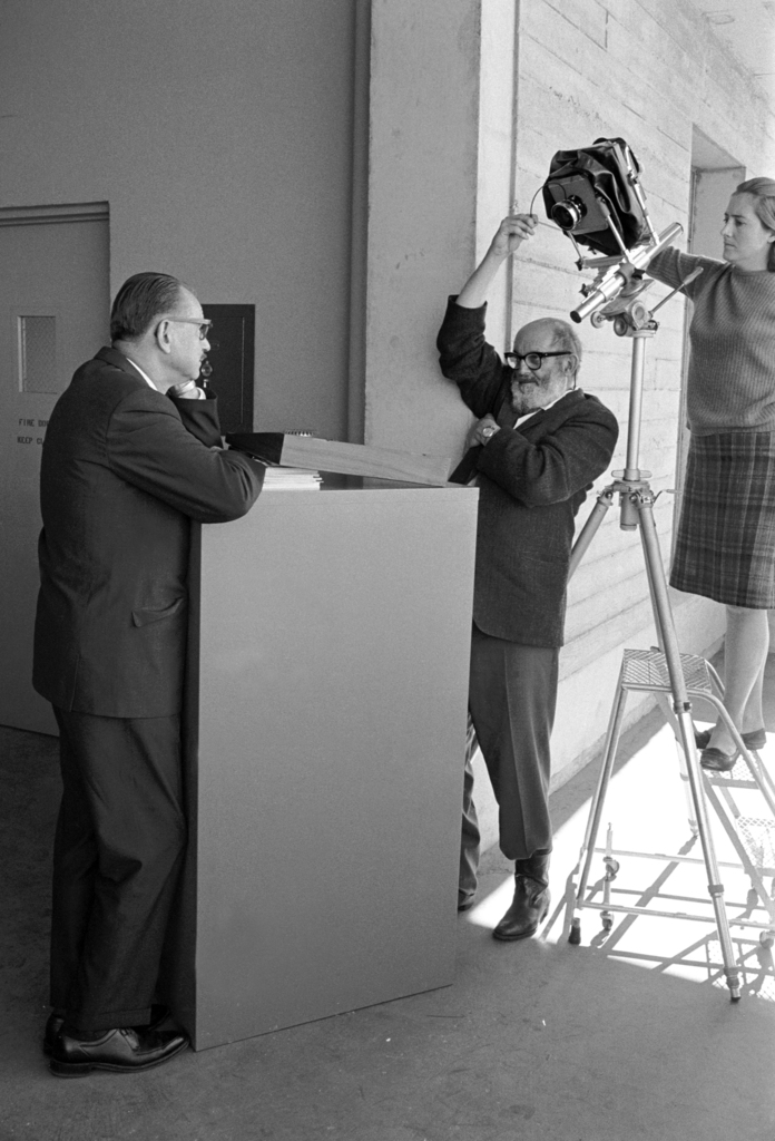 "Ansel Adams photographing Director Edwin McMillan for the forth-coming book, ""Fiat Lux,"" a collection of pictures and text that will be published by the University of California in celebration of its Centennial in 1968. Photo taken November 18, 1966. Morgue 1966-136 (P-7) [Photographer: Donald Cooksey]"