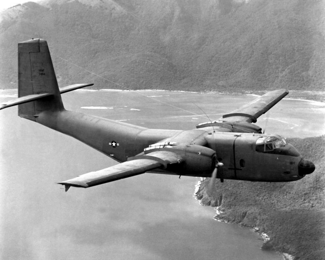 A C-7 Caribou aircraft, transferred from the U.S. Army to the Air Force on Jan. 1, is used for airlifting supplies to forward outposts in Vietnam. With a maximum payload of three tons, the C-7A can take off and clear a 50-foot obstacle in about 1,200 feet. The aircraft, used for landing at short, unimproved airfields, can land on a 1,000-foot runway