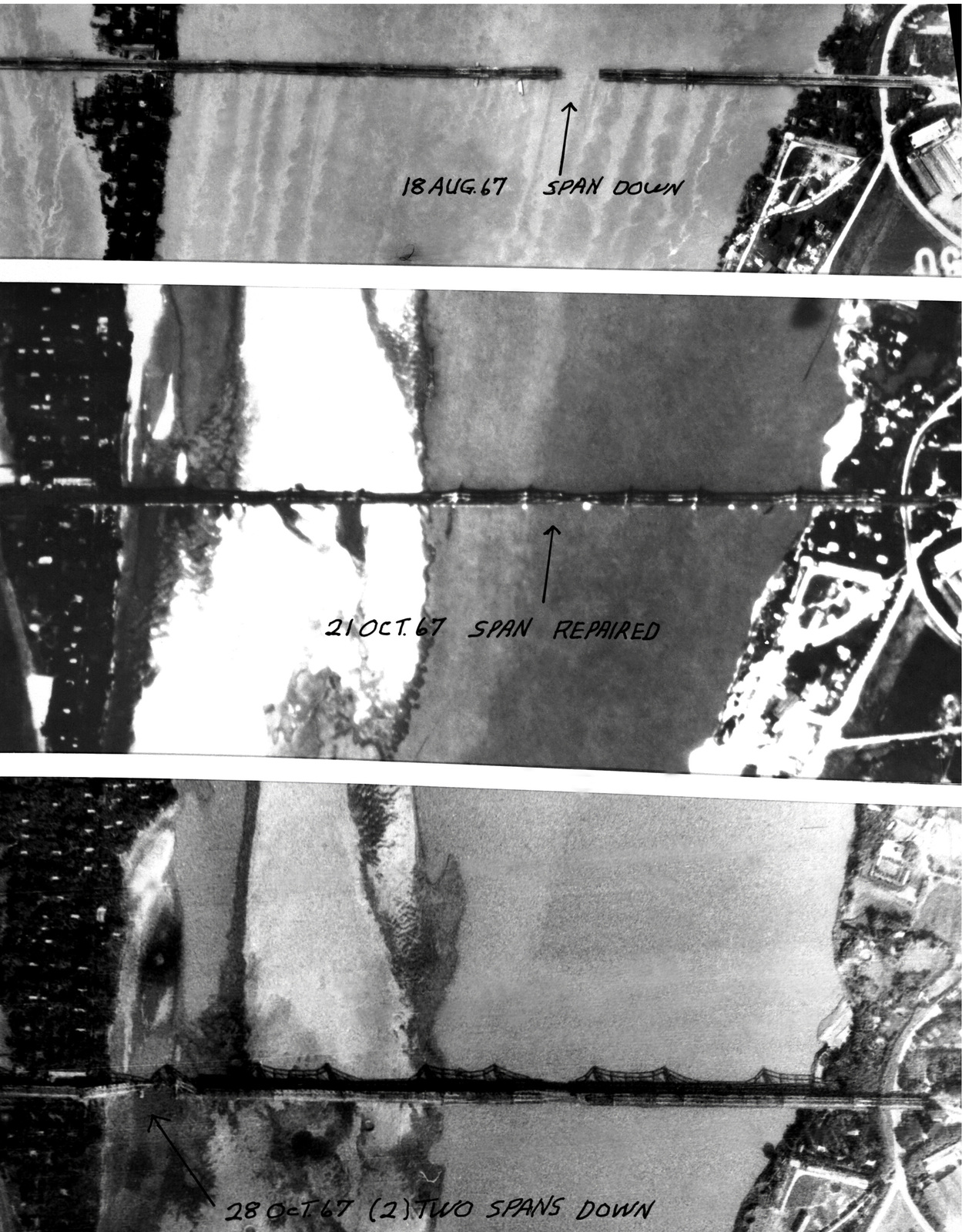 A sequence of reconnaissance photos of the different stages of the Hanoi/Doumer highway-railroad bridge, 1.7 miles northeast of Hanoi after an air strike. The top photo shows the bridge with one span dropped after the Aug. 11 strike. The middle print reveals the span repaired on Oct. 21 and the last photo shows the two spans dropped during the raids on Oct. 25