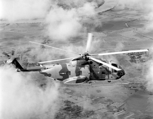 Air Force HH-3E Jolly Green Giant helicopters are used to rescue pilots downed in Vietnam or the South China Sea. Flown by the 3rd Aerospace Rescue and Recovery Group, the rescue craft cruises at speeds up to 155 mph and is capable of in-flight refueling