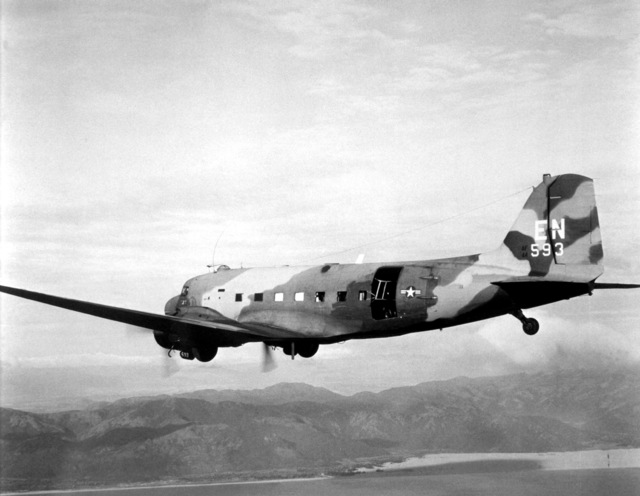 The U.S. Air Force AC-47 Dragon aircraft flies missions over South Vietnam in support of allied outposts