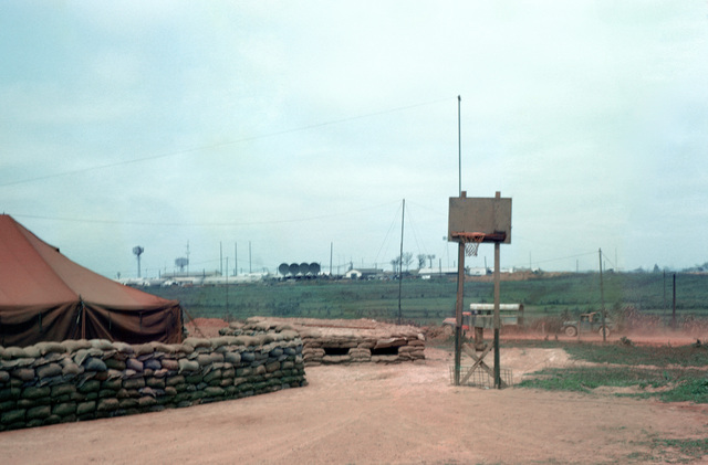 The bulk fuel dispensing point of the Dong Ha living area. A US Air Force radio and radar installation is in the background