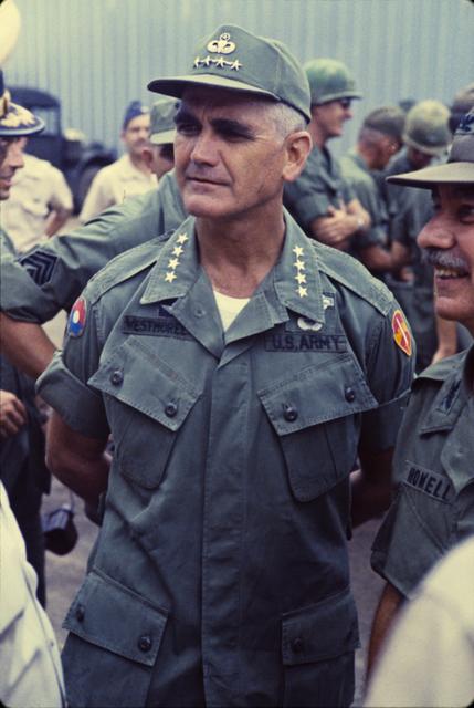 Photograph of General William C. Westmoreland Watching Ceremonies