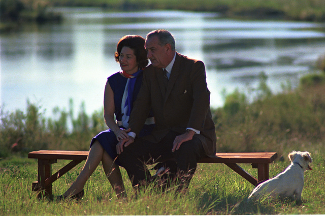 Lady Bird Johnson and President Lyndon B. Johnson at the Pedernales River on the LBJ Ranch