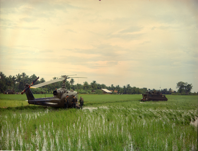 Photograph of the Recovery of a UH-1C Gunship