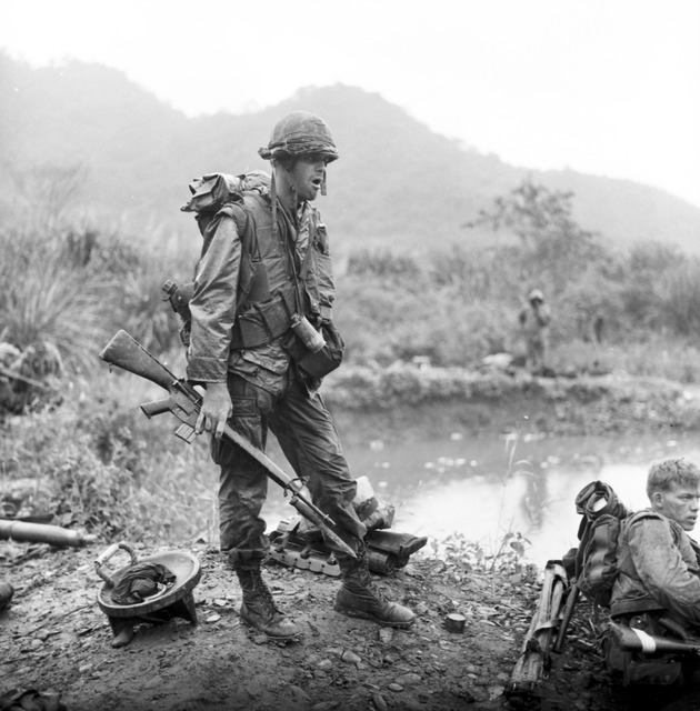 Pvt. R. Jones, of the 81mm Mortars Plt., 2nd Battalion, 7th Marines, is Wet and Cold as He Takes a Break During Operation Pitt, Taking Place Approximately 12 miles north of Da Nang