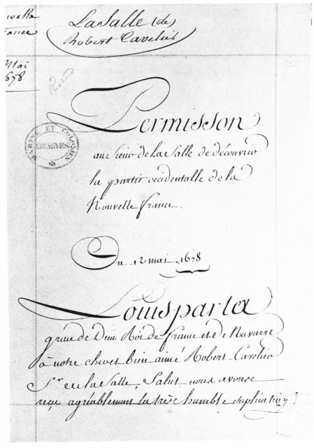 [Cavelier de la Salle, Nouvelle France Expedition Document]