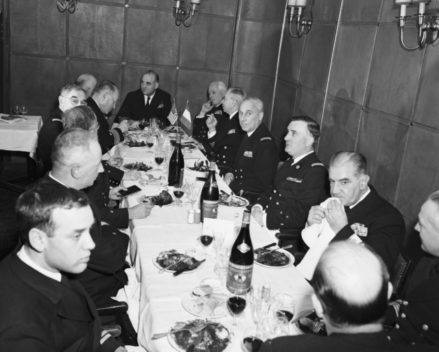 [French and U.S. Navy Officials Meet Over Luncheon in Paris]