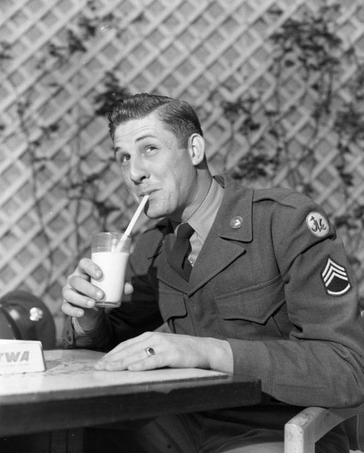 [French Milk for American Army (pix of American Staff Sergeant)]